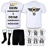 DE-Fanshop Deutschland Trikot Set 2021 mit Hose & Stutzen GRATIS Wunschname + Nummer im EM WM Weiss Typ #DE3ths - Geschenke für Kinder Erw. Jungen Baby Fußball T-Shirt Bedrucken