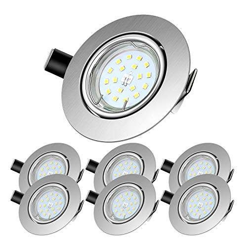 LED Einbaustrahler schwenkbar inkl. 6 x 5W Leuchtmittel GU10,600 Lumen,Kaltweißes LED Einbauleuchte 6000 Kelvin,120° Abstrahlwinkel,Deckeneinbaustrahler,6 er Pack 6000k Rund Metall Matt Nickel
