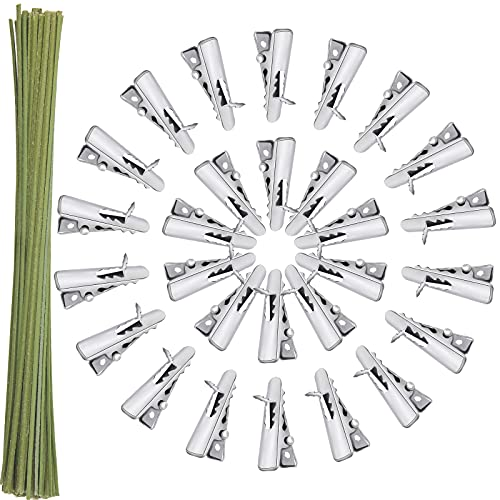 Hotop 50 Pieces Christmas Flowers Alligator Clips 24 mm Metal Crocodile Clips Silver Tone Spring Clamps and 50 Pieces Dark Green Floral Wire 7.87 Inch Christmas Flower Stems for Flower Arrangement