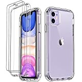 LUXVEER iPhone 11 Clear Case,with [2 x Tempered Glass...