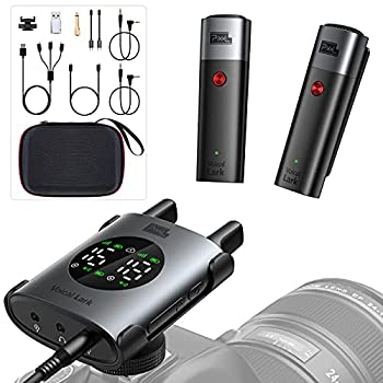 Pixel UHF Wireless Lavalier Microphone System Clip-on Omnidirectional Lapel Mic with 1 Transmitter and 2 Receiver Compatible with Smartphone DSLR Camera Laptop,Tablet Interview,Video