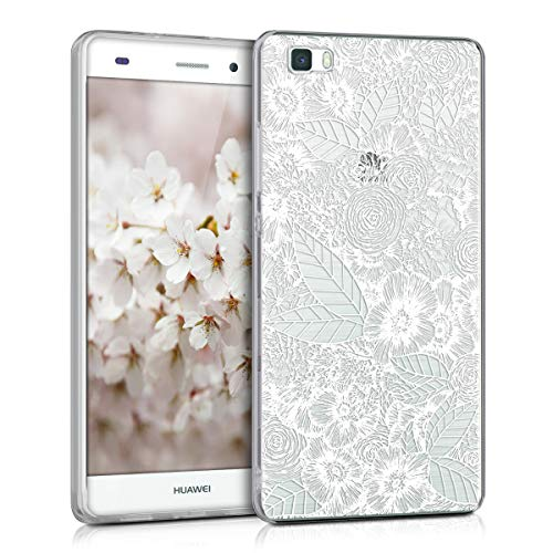 kwmobile TPU Case for Huawei P8 Lite (2015) - Soft TPU Silicone Cover - Crystal Clear Back Case IMD Design - Sea of Flowers White/Transparent