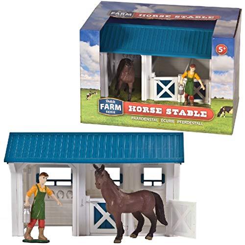 Dutch Farm Serie Paarden Stal, Wit/Blauw