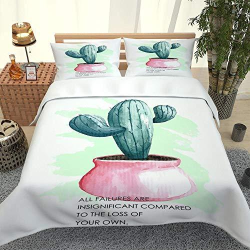XOYKX Juego De Funda De Edredón - Cactus En Maceta 3 Piezas Funda De Edredón para Adulto, Transpirable Microfibra Funda De Nórdico Y Fundas De Almohada,Cierre De Cremallera (240X220Cm)