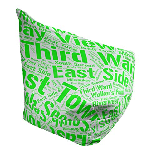 Learn More About ArtVerse Rand Cites Milwaukee, Wisconsin Districts Word Art-Green Bean Bag Cover w/...
