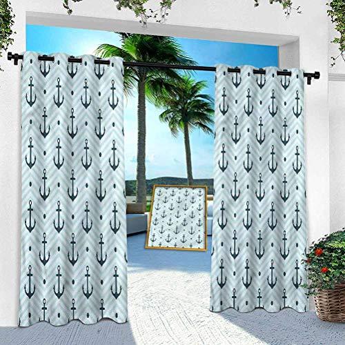 Cortinas para exteriores para porche, ancla, anclajes zigzag Chevron, 132 x 274 cm, extra anchas, cortinas aisladas térmicas para pérgola/terraza (1 panel)