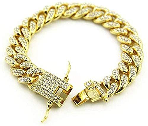 Aluyouqi Co.,ltd Collar Pulsera para Hombre Pulseras De Cadena De Eslabones Cubanos De Miami De Oro para Hombre Iced out Hip Hop