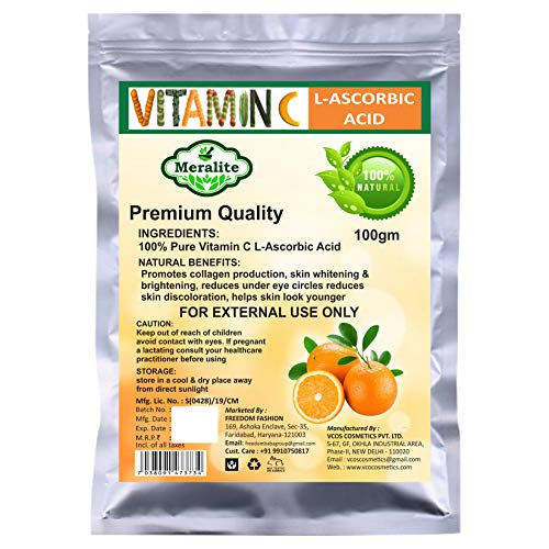 Meralite L-Ascorbic Acid Powder Vitamin C For Use in Serums and Cosmetic Formulations