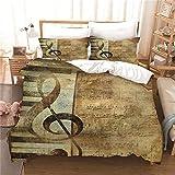 WJYMJJ Copripiumino Set Musica retrò King 220 x 240 cm Microfibra Morbido e confortevole set di biancheria da letto con 2 federe, Per la decorazione della casa