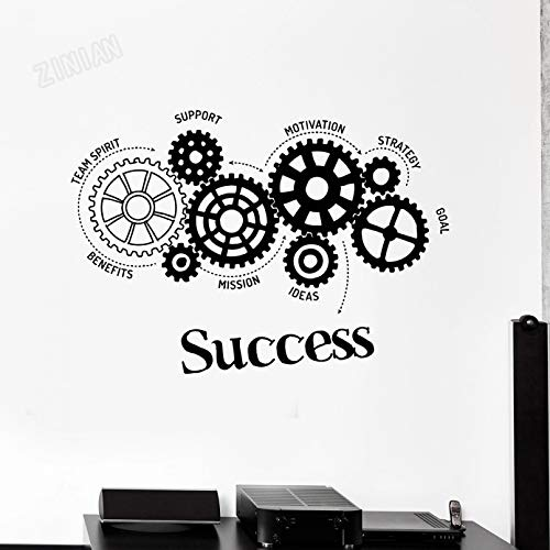 SUPWALS Success Words Vinyl Wall Decal For School Classroom Wall Gears Office Motivation Wall Stickers Art Wall Mural For Teen Room