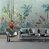 Papel Tapiz Fotográfico 3D Pintado A Mano Flores De La Selva Tropical Pájaros Murales Retro Café Hotel Sala De Estar Dormitorio Decoración De La Pared 250(Ancho) X175(Alto) Cm