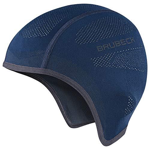 BRUBECK Cappuccio Funzionale/semipiercasco | Regolazione della Temperatura | Traspirante | Moto | Sci | in Esecuzione | HM10020A | Blu Marino | L-XL