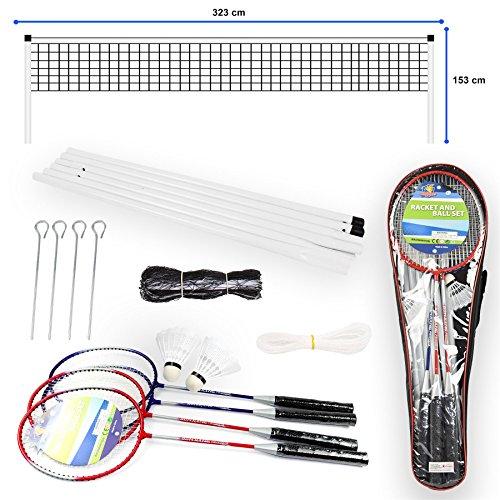 Vinsani® Set de bádminton portátil para 4 jugadores con 2 raquetas y red, volantes y postes con funda de transporte, juego para jardín al aire libre para la familia