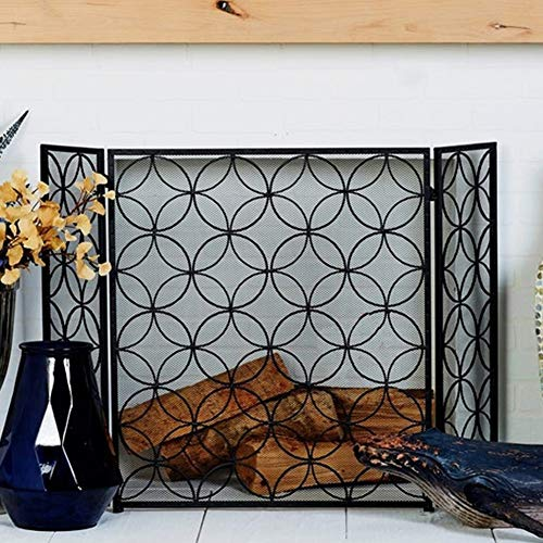 Fantastic Prices! ZAQI 3 Panel Foldable Fire Screen Protector, Black Fireplace Fence with Geometric ...