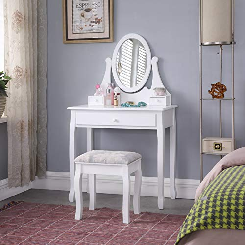 TMEE Klassischer Weißer Schminktisch Holz mit Hocker u. Einstellbare Spiegel, Schubladen Kosmetiktisch für Frauen Mädchen Schlafzimmer Umkleideraum