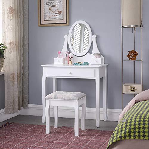 TMEE, set classico da toeletta in legno bianco con specchio regolabile e cassetto, scrivania per donne e ragazze camera da letto spogliatoio