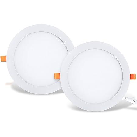 LVWIT 2x 25W Ultra slim LED encastré, remplace l'halogène 150W, Plafonnier rond avec driver, Blanc Neutre 4000K 2250Lm, AC 230V, downlight/spots encastrés/spots encastrés (lot de 2)