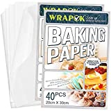 WRAPOK 80 Count Greaseproof Baking Parchment Paper Sheets Cooking Cake Non-Stick Pre-Cut Pan Liners for Kitchen, 8 x 12 Inch