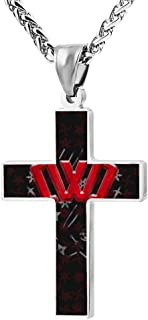 Chad-Wild-Clay pattern Jewelry Women'S Cross Necklace Black Zinc Alloy Pendant Necklace 24 Inch
