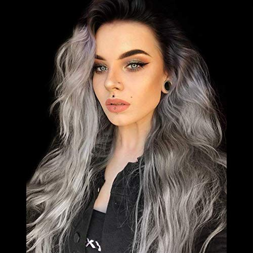 Ash Blonde Synthetic Lace Front Wigs with T Part Long Ombre Wig with Mixed Highlight Blonde Wavy Wig Synthetic for Daily Wear