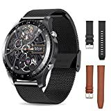 Smartwatch with 3 Watchbands,Call and App Message Reminder Watches,Smart Watches for Android/IOS Phone,Music Running Watches,Health and Fitness Smartwatch,Waterproof Bluetooth Watch (BLACK)