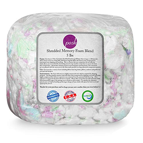 Posh Beanbags Refll Foam Filling, Shredded 5lbs, Multi-Color