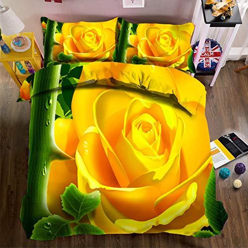 PERFECTPOT Funda De Edredón Flor Amarilla Impresión Ropa De Cama 3 Piezas Poliéster 1 Funda Nórdica Y 2 Funda De Almohada 150x200cm