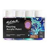 Mont Marte Pouring Set Ethereal – 4 Stück x 60ml – Acryl Pouring – Premium Acrylfarben mit Pouring Medium vorgemischt – Hell Violett, Dunkel Violett, Minz Grün, Ultramarin Blau