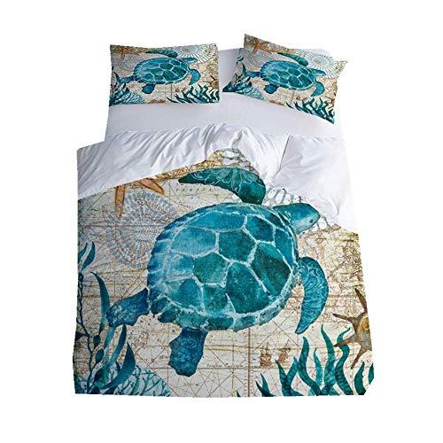 Fansu Bedding Sets Duvet Cover Set 3 Piece, Polyester Microfiber 3D Marine life Bedroom Duvet Set 2 x Pillowcases 1 x Quilt Case for Double King Single Bed (Double-200x200cm,Turtle)