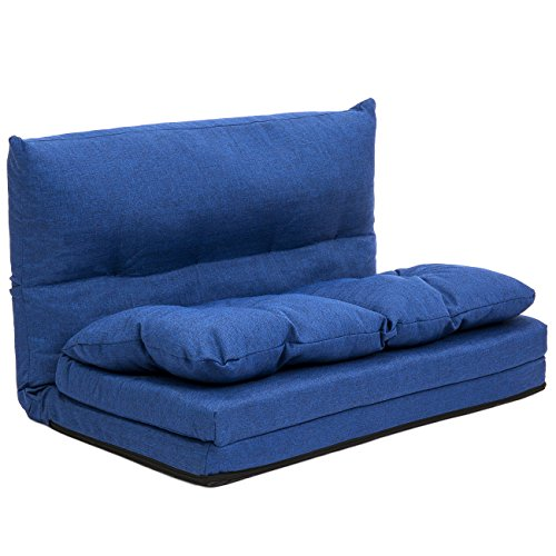 Best Choice Products Linen Folding Futon Chaise Lounge Sofa Gaming Chair Floor Couch, Blue