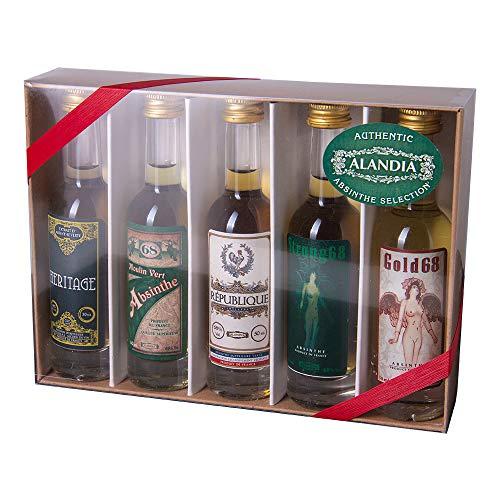 Absinth Tasting Set | Mit original Absinth von ALANDIA | Ideal zum Ausprobieren und Verschenken | 68% Vol. | (5x 0.05 l)
