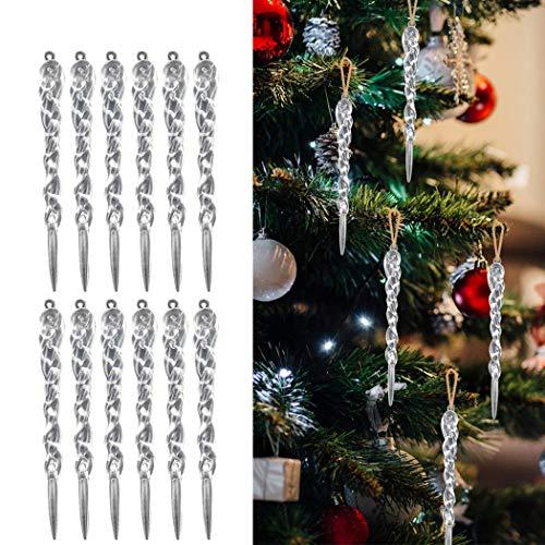 Xmas Clear Icicle Ornaments, FunPa 24PCS Christmas Icicle Ornament DIY Hanging Icicles Drop Ornament Xmas Tree Hanging Pendant Wedding Holiday Party Decoration