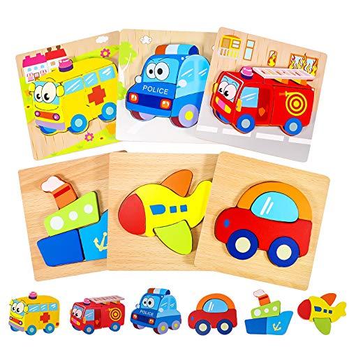 joylink Puzzle in Legno per Bambini, 6 Pezzi Puzzle di Set per 1 2 3 Anni Giocattoli da Puzzle 3D Educativi e di Apprendimento Regali per Bambini Ragazzi Ragazze