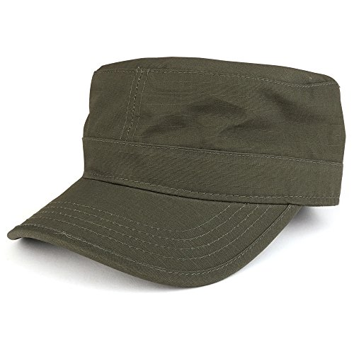 Ripstop Tear Resistant Military BDU Cotton Adjustable Cadet Style Army Cap - Olive