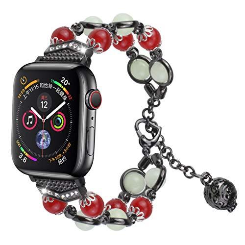 Correa para iwatch band serice6 5 4 3 2 1 Pulsera de perlas luminosas de noche para mujer con colgante de almacenamiento de aceite esencial / perfume-Negro con rojo, 40 mm