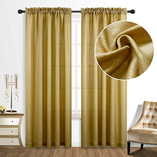 Gold Curtains 84 Inch Length for Living Room 2 Panels Set Rod Pocket Window Decor Semi Sheer Luxury Sparkle Shimmer Shiny Glitter Brown Golden Mustard Curtains for Bedroom 52x84 Long