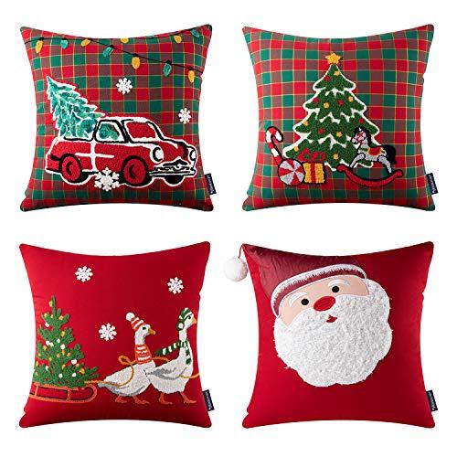 Phantoscope - Fundas de almohada navideñas bordadas de algodón, diseño de Papá Noel, árbol, coche y reno, color rojo y verde, 45 x...