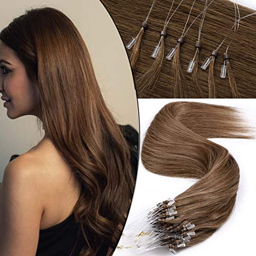 SEGO Rajout Cheveux Naturel Extension Loops Anneau a Fil Invisible Froid pas Keratine[0.5g * 100 Mèches] Meche Humains Micro Beads Ring 100% Remy Hair - 20\