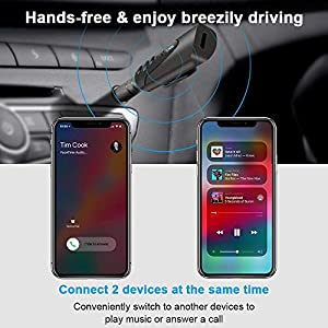 Bluetooth Receiver, Bluetooth Adapter,Portable Wireless Bluetooth Aux Headphones Adapter with Clips Design, Hands-Free Audio Car Kits with 3.5mm Jack Stereo Output