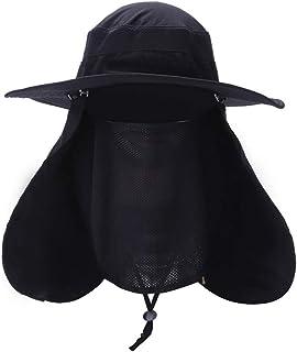 Sombrero para el Sol Hombres de Verano Pesca al Aire Libre Equitación Máscara de protección Solar Protección UV Pescador Gran para el Sol Multicolor Velo Respirable (Color : Negro)