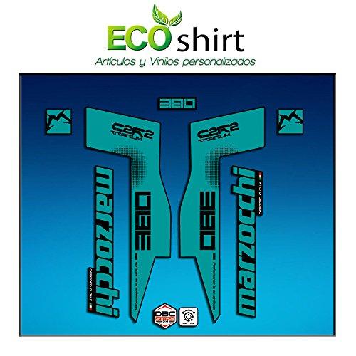 Ecoshirt SL-CU99-0RPB Stickers Fork Marzocchi 380 C2Rc Titanium Am70 Aufkleber Decals Autocollants Fourche Gabel Fourche Turquoise