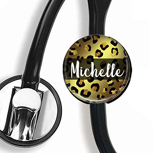 HM Stethoscope Tag Steth ID Tag//Nurse Badge Personalized Name - Glitter Cheetah Leopard