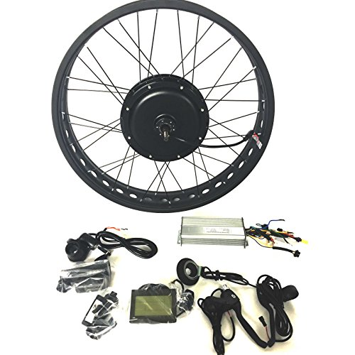 theebikemotor 48V1200W Hub Motor Electric Bike Conversion Kit 4.0 Fat Rim + LCD + Tire (Rear Wheel, 26' x 4.0)