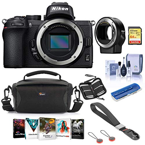 Best Prices! Nikon Z50 Mirrorless Camera Body - Bundle with Nikon Mount Adapter FTZ, Camera Case, Pe...