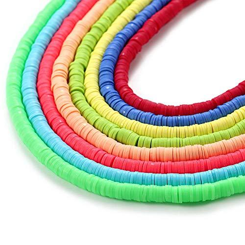 Cuentas de arcilla 10 hebras, 4 mm de vinilo hecho a mano de polímero Fimo espaciador de bolas de aproximadamente 3200 piezas Mutilcolor DIY para hacer joyas collar pulsera encontrar