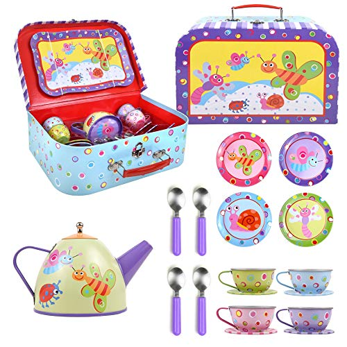 SOKA® Little Bugs Metal Tea Set & Carry Case Toy for Kids - 18 Pcs Illustrated Colourful Design Toy Tea Set for Children Role Play