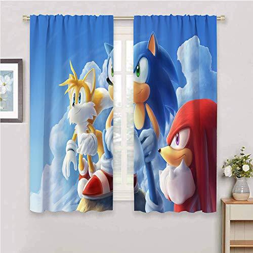 Zmcongz - Cortinas sónicas divertidas para dormitorio con impresión de sala de estar, cortinas opacas, Sonic Sonic The Hedgehog Sega, videojuegos, aventura sónica W72' x L72'(183cm x 183cm) Color: 05.