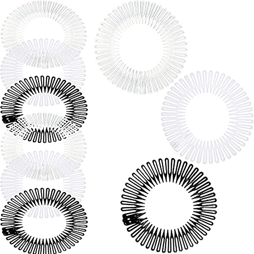 9 Pieces Full Circular Stretch Comb Flexible Plastic Circle Comb Stretch Hair Comb Headband Hairband Holder for Women Girls, 3 Colors (Black, White, Clear)