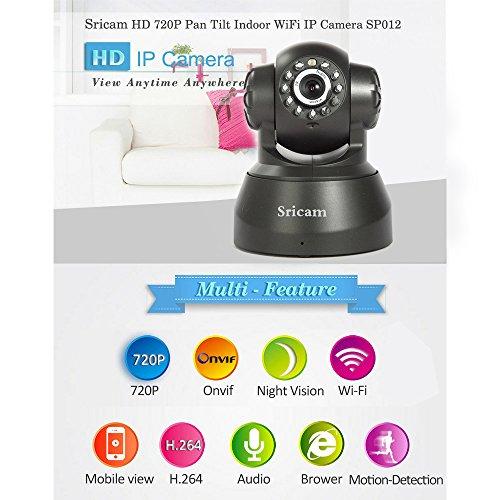 SUNLUXY Sricam WIFI Webcam IP Camera Surveillance Pan / Tilt 0.3MP P2P senza fili a infrarossi telecamera a circuito chiuso di IR di visione telecamere di sicurezza di rilevamento del movimento nero