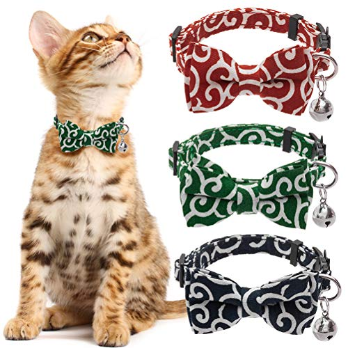 KOOLTAIL Bowtie Cat Collar Breakaway with Bell - 3 Pack Adjustable Collars Japanese Kimono Ninja...